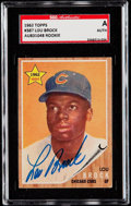 Autographs:Sports Cards, Signed 1962 Topps Lou Brock #387 SGC Authentic. ...