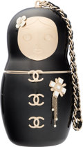 "Luxury Accessories:Bags, Chanel Black Enamel Matryoshka Doll Minaudiere Evening Bag with Gold Hardware. Condition: 1. 2.5"" Width x 5"" Height x 2.5""..."