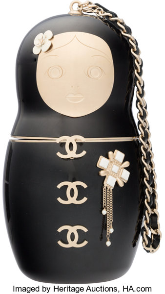 c77bd43d911aaf Luxury Accessories:Bags, Chanel Black Enamel Matryoshka Doll Minaudiere  Evening Bag withGold Hardware.