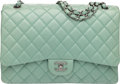 """Luxury Accessories:Bags, Chanel Mint Green Lambskin Leather Maxi Single Flap Bag with ShinyRuthenium Hardware. Condition: 1. 13"""" Width x 8.5"""" Heig..."""