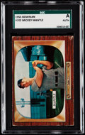 Baseball Cards:Singles (1950-1959), 1955 Bowman Mickey Mantle #202 SGC Authentic.  Tho...