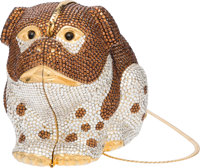 """Judith Leiber Full Bead Brown and Silver Crystal Dog Minaudiere Condition: 3 5"""" Width x 4"""" Height"""