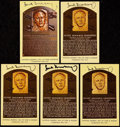 Autographs:Post Cards, Hank Greenberg Signed Hall of Fame Plaque Postcard Collection (5).. ...