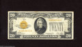 Small Size:Gold Certificates, Fr. 2402 $20 1928 Gold Certificate. Fine. This note has decent color, but with three pinholes at upper left....
