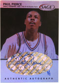 Basketball Collectibles:Others, 1999 Sage Basketball Paul Pierce #A40 1/1 Signed Card. Rare 1/1 insert from the '99 SA-GE basketball issue features a stunni...