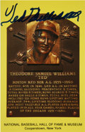 Autographs:Post Cards, Ted Williams Signed Gold Hall of Fame Plaque. Stunningly bold bluesharpie application of the Hal of Famer's signature span...