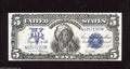 Large Size:Silver Certificates, Fr. 281 $5 1899 Silver Certificate Choice About Uncirculated+++.A dynamic chief note which appears to be a gem in every mann...