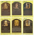 Autographs:Photos, Signed Gold Hall of Fame Plaques Lot of 6. Gold HOF postcards havebeen signed by a half dozen of baseball's all-time greats...