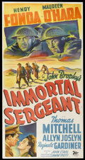 "Movie Posters:War, Immortal Sergeant (20th Century Fox, 1943). Three Sheet (41"" X81""). War...."