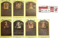 Autographs:Post Cards, Signed Gold Hall of Fame Plaques Lot of 7, with Signed Ticket. Herewe offer a fine collection of Hall of Fame autographs, w...
