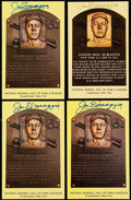 Autographs:Post Cards, Joe DiMaggio Signed Hall of Fame Plaque Postcard Collection (4). . ...