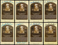 Autographs:Post Cards, Sparky Anderson Signed Hall of Fame Plaque Postcard Collection(8)....