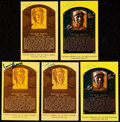 Autographs:Post Cards, Ernie Banks Signed Hall of Fame Plaque Postcard Collection (5).....