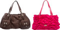 """Luxury Accessories:Bags, Moschino Set of 2: Pink Nylon and Brown Leather bags.Condition:4. Brown- 10"""" Height x 20"""" Width x 7"""" Depth. Pink- 9.5Hei... (Total: 2 Items)"""