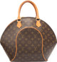 "Louis Vuitton Brown Ellipse Canvas Leather Brown Monogram Top Handle Condition:4 12.5"" Height x 16"" Width x 7..."