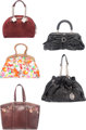 Dior Set of Five: Black Leather, Brown Leather, Multicolor Floral Canvas, Burgundy Python and Velvet, and Black Leather...