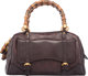 """Gucci Brown Leather Bamboo Top Handle Condition:4 7"""" Height x 12.5"""" Width x 6"""" Depth This bag is done in..."""