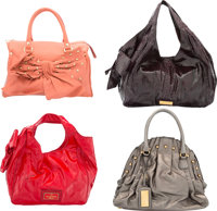 Valentino Set of four: Red Patent Leather, Pink Leather, Metallic Silver Leather, Purple Python Top Handle Bags