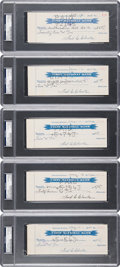 Baseball Collectibles:Others, 1940's Fred Clarke Signed Checks Lot of 5. . ...