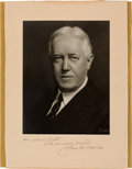Political:Small Paper (1896-present), John W. Davis: Autographed Studio Portrait by Pach Brothers of New York....
