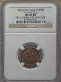 Civil War Tokens, 1863 First in War, First in Peace Civil F-174/272a, MS65 Red andBrown NGC.. From The Star Mountain Collection....