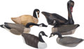 General Americana, Six American Carved Wood, Cork, and Canvas Canadian Geese Decoys,mid-20th century and later. 23 h x 29 w x 10-3/4 d inches ...(Total: 6 Items)