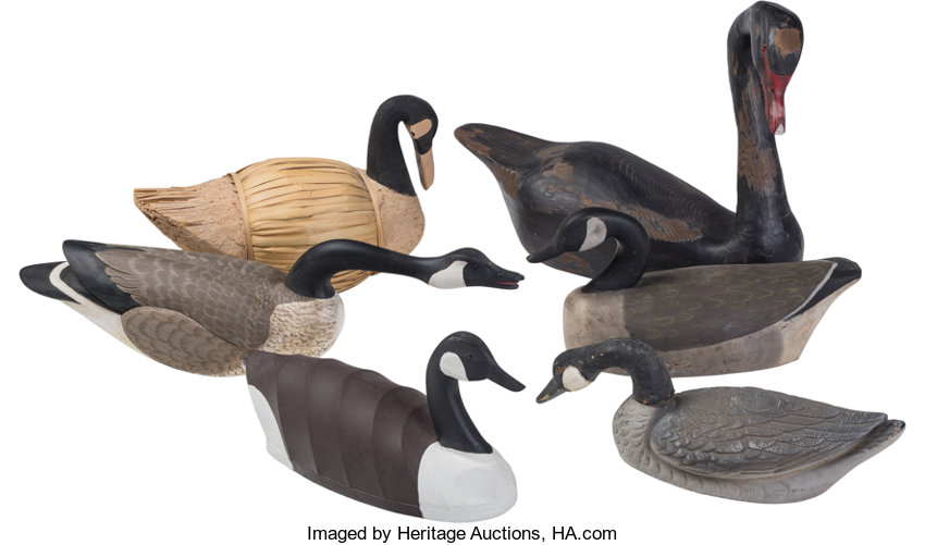 Six American Carved Wood, Cork, and Canvas Canadian Geese