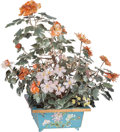 Asian:Chinese, A Large Chinese Jade, Rock Crystal, and Hardstone Flowering Bush inCloisonné Planter. 33-1/2 inches high (85.1 cm). ...