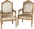 Furniture , A Pair of Louis XVI-Style Upholstered Giltwood Fauteuil, 19th century. 42-1/4 h x 26 w x 20-3/4 d inches (107.3 x 66.0 x 52.... (Total: 2 Items)