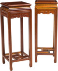 Asian:Chinese, A Near Pair of Chinese Carved Mahogany Stands, 20th century. 34-1/4h x 12-7/8 w x 12-7/8 d inches (87.0 x 32.6 x 32.6 cm). ... (Total:2 Items)