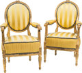 Furniture , A Pair of Louis XVI-Style Giltwood Fauteuils, 19th century with later upholstery. 39-1/2 h x 22-1/2 w x 21-1/2 d inches (100... (Total: 2 Items)