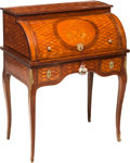 Furniture , A Louis XVI-Style Mahogany, Fruitwood, and Parquetry Secrétaire à Cylindre, 19th century. 40-1/4 x 31 x 20 inches (102.2 x 7...