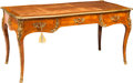 Furniture , A Louis XV-Style Kingwood, Parquetry, and Gilt Bronze Bureau Plat, late 19th-early 20th century. 30 h x 62 w x 28-1/2 d inch... (Total: 2 Items)