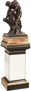 Sculpture, A French Bronze of Milo of Croton Splitting a Stump, After Edme Dumont on a Faux Boulle Lacquered and Mirrored Pedestal, th... (Total: 3 Items)
