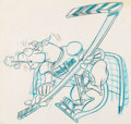Animation Art:Production Drawing, Scooby-Doo Playing Hockey Preliminary Drawing by Jack Manning(Hanna-Barbera, c. 1970s)....