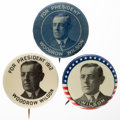 """Political:Pinback Buttons (1896-present), Woodrow Wilson: Three """"Better"""" Picture Pins in Unusual 1 1/4"""" Versions...."""