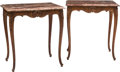 Furniture , A Pair of Louis XV-Style Oak Side Table with Marble Tops, early 20th century. 25-1/4 h x 23-1/2 w x 17-3/4 d inches (64.1 x ... (Total: 4 Items)