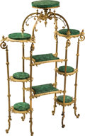 Furniture , A Louis XV-Style Gilt Bronze and Malachite Étagère, late 19th century. 55 h x 36-1/2 w x 14-1/8 d inches (139.7 x 92.7 x 35....
