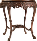 Furniture , Two Victorian Marquetry, Burlwood, and Mahogany Side Tables, late 19th-early 20th century. 29-3/4 inches high x 28 inches di... (Total: 2 Items)