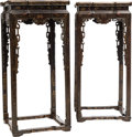 Asian:Chinese, A Pair of Chinese Polychrome Lacquered Hardwood Stands. 36 h x16-1/2 w x 16-1/2 d inches (91.4 x 41.9 x 41.9 cm). PROPERT...(Total: 2 Items)