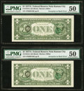 Error Notes:Third Printing on Reverse, Fr. 1910-J $1 1977A Federal Reserve Notes. Two Consecutive Examples. PMG About Uncirculated 50.. ... (Total: 2 notes)