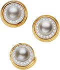 Estate Jewelry:Suites, South Sea Cultured Pearl, Diamond, Gold Jewelry Suite, Trio . ...(Total: 2 Items)