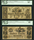 Obsoletes By State:Louisiana, New Orleans, LA- New Orleans Canal & Banking Co. $5; $100 18__ Remainders. ... (Total: 2 notes)