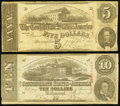 Confederate Notes, T59 $10 1863;. T60 $5 1863.. ... (Total: 2 notes)