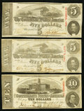 Confederate Notes, T59 $10 1863;. T60 $5 1863 Two Examples.. ... (Total: 3 notes)