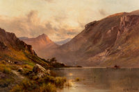 Alfred de Bréanski (British, 1852-1928) The head of Loch Awe, Scotland Oil on canvas 24 x 36 inch