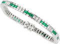 Estate Jewelry:Bracelets, Diamond, Emerald, Platinum Bracelet . ...