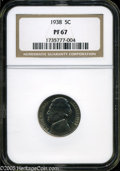 Proof Jefferson Nickels: , 1938 5C PR 67 NGC. ...