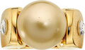 Estate Jewelry:Rings, Gentleman's South Sea Cultured Pearl, Diamond, Gold Ring
