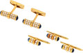 Estate Jewelry:Cufflinks, Diamond, Sapphire, Gold Dress Set. ... (Total: 4 Items)